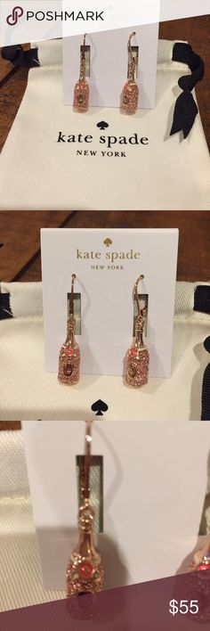 NWT kate spade make magic champagne drop earrings NWT kate spade make magic champagne bottle drop earrings. Rose gold. Very sparkly! Perfect for New Years Eve or that special occasion! kate spade Jewelry Earrings