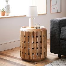 TV Area in basement Pierced Wood Drum Side Table Furniture For Small Spaces, New Furniture, Table Furniture, Indian Furniture, Space Furniture, Office Furniture, Furniture Design, Drum Coffee Table, Drum Side Table