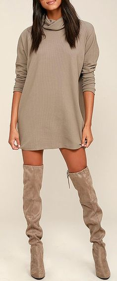 A day of full-fledged relaxation could be even better if spent in the Scheme of Things Taupe Long Sleeve Dress! Taupe knit fabric, with a cool waffle texture, shapes a folding turtleneck. Wide-cut bodice is finished with tapered long sleeves and ends at a relaxed-fitting hem. #lovelulus
