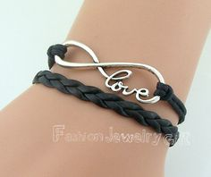 Infinity love Bracelet Black Wax Cords and by FashionJewelryGift, $1.99 Infinity love Bracelet Black Wax Cords and Leather Antique Silver Adjustable Bangle Personalized Jewelry