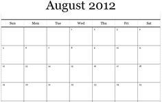 August 2012 Calendar Printable PDF - I don't buy calendars, I print them off the internet :)