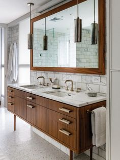 Bathroom, Beautiful Images Of Contemporary Bathrooms Design Ideas Modern Brown Varnishes Oak Wood Bathroom Vanity With White Marble Granite Countertop And Double White Ceramic Under-mount Sink Under Cool Pendant Lights As Well As Framed Wall Mirror