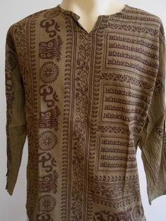 OM T-Shirt. SIZE L XL This shirt is made of thin cotton. Shoulder to shoulder Long sleeve: Armpit to armpit premium quality cotton. Om Ganesh, Hindu India, Mexica, Shirt Outfit, T Shirt, Flower Shirt, Men Sweater, Brown, Long Sleeve