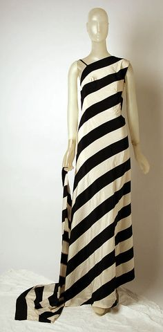 "Black and white striped silk and elastic evening dress by Madame Grès (Alix Barton), French, ca. 1975. Label: ""GRES / PARIS"""