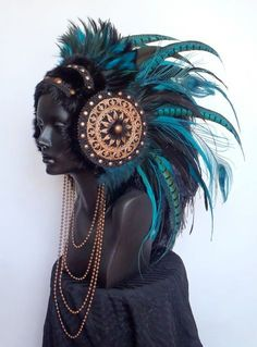 MADE TO ORDER Large Warrior Priestess Headdress. $525,00, via Etsy.: