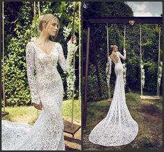 Riki Dalal Mermaid 2015 Wedding Dresses Long Sleeves V Neck White Lace Bridal Gowns Custom Backless Wedding Dresses Monarch Train Online with $146.6/Piece on Weddinggirlsdress's Store | DHgate.com