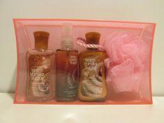 Bath and Body Works Warm Vanilla Sugar Set - Shower Gel, Body Lotion, Fragrance Mist with Spongee