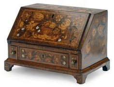 A CONTINENTAL MOTHER-OF-PEARL-INLAID WALNUT AND MARQUETRY MINIATURE FALL-FRONT BUREAU, 19TH CENTURY.