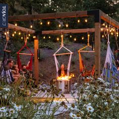 Hang around the family instead of around the tv this weekend. Toja Grid pergolas offer endless and unique applications, providing families the ability to find new and fun uses everyday. Backyard Patio Designs, Backyard Projects, Backyard Landscaping, Diy Projects, Pergola Designs, Types Of Fire, Fire Pit Area, Fire Pits, Fire Pit Seating