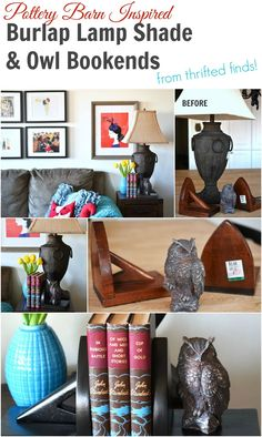 Get a Pottery Barn look without the Pottery Barn price! How to upcycle finds from the thrift store. Cover a lamp shade in burlap and create your own bookends. #diy #crafts #decor #home #style #potterybarn