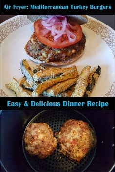 Mediterranean Turkey Burgers in the Air Fryer! Craving a burger & Mediterranean at the same time? This juicy turkey burger will not disappoint! Easy Delicious Dinner Recipes, Air Fryer Dinner Recipes, Healthy Recipes, Turkey Burger Recipes, Turkey Burgers, Red Onion Recipes, Air Fried Food, Wealth