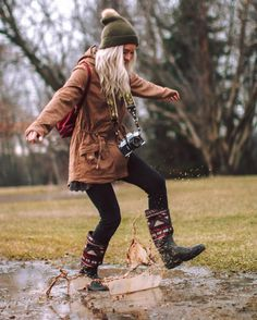 """who says you can't play in mud puddles while wearing cute boots?  use coupon code """"HAILEY"""" for 25% off your entire purchase on Muk-Luks.com (my favorite aztec print boots from them are called the Karen Rainboot)  #springfever by dreaming_outloud"""