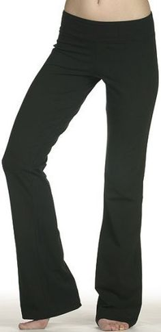 Ladies Lowrise Cotton Lycra Foldover Yoga Pants, Medium Black TQM. $24.99