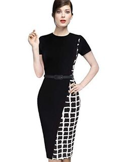 online shopping for VfEmage Womens Elegant Asymmetric Check Plaid Wear To Work Pencil Dress from top store. See new offer for VfEmage Womens Elegant Asymmetric Check Plaid Wear To Work Pencil Dress Plus Size Business Attire, Pencil Dress, Plus Size Women, Business Women, Dresses Online, Work Wear, Short Sleeve Dresses, Dresses For Work, Plaid