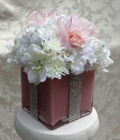 Silk Floral Centerpiece For Baby Shower, Bridal Shower Or Sweet Sixteen