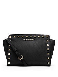 d1f8a8126c MICHAEL MICHAEL KORS - Selma Studded Saffiano Leather Mini Messenger Bag Michael  Kors Crossbody, Michael