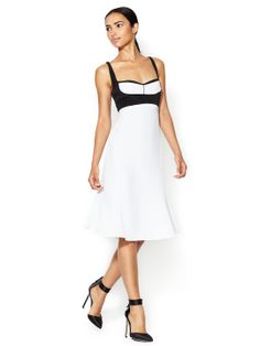 Narciso Rodriguez, Silk Colorblock Bust Flared Dress --- Not the dress for me, but perfect for the slim, less endowed, boy-jean beauties.  This dress will give any boyish figured lass enhancement of shape and curves. Cute, young, flirty, and feminine all in one.