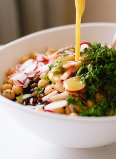 lemony lentil and chickpea salad