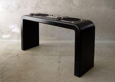 Dj Desks by Metrofarm . - Founded in 2001 by Julia Böttcher and Jan 'Nunu' Müller , Berlin-based Metrofarm 's expertise lies in de. Dj Setup, Studio Setup, Dj Table, Tables, Dj Stand, Dj Decks, Plastic Crates, Recording Studio Home, Dj Gear