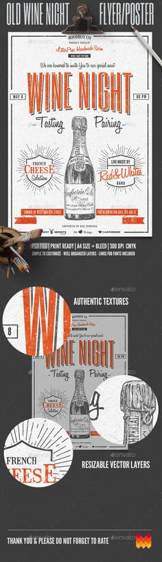 Vintage Wine Night Flyer / Poster Template PSD #design Download: http://graphicriver.net/item/vintage-wine-night-flyerposter/14532640?ref=ksioks