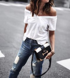 "8,224 Likes, 130 Comments - Erica Hoida • FashionedChic (@fashionedchicstyling) on Instagram: ""OOTD updated for spring tee ⚡️off the shoulder obsessed. 