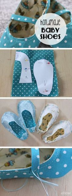So adorable! Who knew making fabric baby shoes were this simple! Don't spend money on expensive shoes, especially when you can hand make tons for the same price. How to tutorial with pictures here: ht (Baby Diy Sewing things for baby - handmade f Baby Sewing Projects, Sewing For Kids, Sewing Crafts, Diy Projects, Baby Sewing Tutorials, Beginners Sewing, Tutorial Sewing, Dress Tutorials, Sewing Diy