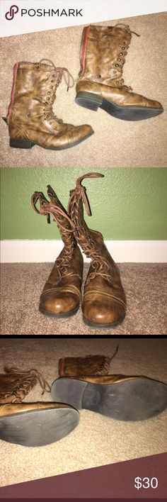 American Eagle Boots Brown distressed boots almost brand new worn less than a handful of times. Size 7 1/2. American Eagle Outfitters Shoes Lace Up Boots