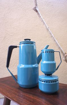 Glud and Marstrand Coffee Serving Set 1950s Vintage Mid Century Modern Enamelware Tea Kettle or Coffee Pot Creamer Small Pitcher Sugar Jar by TheLionsDenStudio on Etsy https://www.etsy.com/listing/175473833/glud-and-marstrand-coffee-serving-set