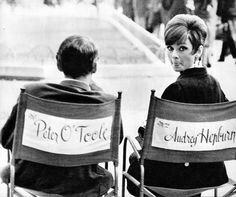 """Audrey Hepburn and Peter O'toole on the set of """"How to Steal a Million""""."""