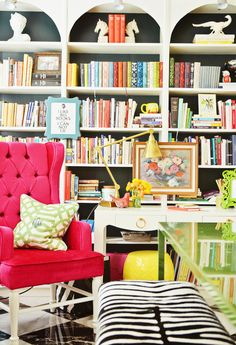 bookcase styling. #house #home #interiors #decor #library #zebra #pink