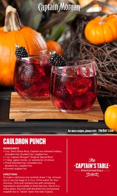 Steep your Halloween party in exciting flavor with this simple cocktail recipe brewed with fresh berries, rich tea and a touch of the Captain's spice. #rum #punch #thecaptainstable