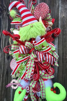 Items similar to Elf Christmas Wreath, Christmas Swag, Traditional Christmas Wreath on Etsy Holiday Door Wreaths, Front Door Christmas Decorations, Christmas Swags, Christmas Centerpieces, Christmas Holidays, Holiday Decor, How To Make Wreaths, Christmas Inspiration, Christmas Traditions