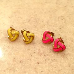 Art Deco Studs... Art Deco Studs in pretty Yellow and Hot Pink with a splash of Gold... Beautiful earrings!! Never worn!!  Barneys New York CO-OP Jewelry