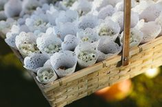 Dried flower confetti in doilies