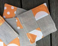 Linen Fabric Coasters Color Block Tangerine