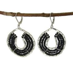 Byzantine Earrings in Black and Silvertone - WorldFinds