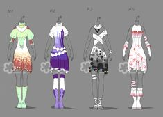 Bright Outfit Adopts - sold by Nahemii-san on DeviantArt
