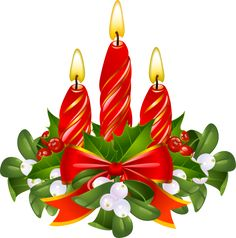 Clip Art For The Christmas Holidays: Candles and Mistletoe