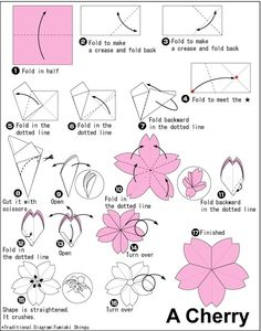 Origami flower by Allison Gerley. Diagram tutorial - how to fold an origami cherry blossom. Origami Diy, Origami And Kirigami, Paper Crafts Origami, Origami Tutorial, Diy Paper, Oragami, Origami Instructions, Handmade Flowers, Diy Flowers