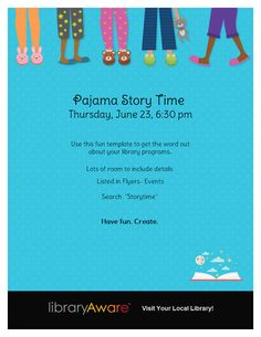 """We've just added a few flyer templates to help you promote some fun programs like pajama storytimes. Search for """"storytime"""" in Flyers-Events."""