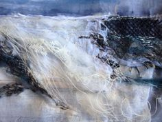 Silver Waves Textile Art Nautical Art abstract by PrivateDo Textile Fiber Art, Textile Artists, Textiles Techniques, Nautical Art, A Level Art, Sand Art, Beach Art, Textile Patterns, Fabric Art