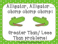 Alligator, Alligator...Chomp, Chomp, Chomp. (Greater/Less Than) $ Product for K-Primary