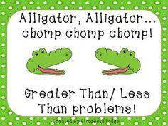 Alligator, Alligator...Chomp, Chomp, Chomp. (Greater/Less Than) $ Product for K-Primary