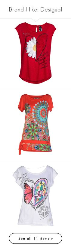 """Brand I like: Desigual"" by bimba84ab ❤ liked on Polyvore featuring desigual, tops, t-shirts, red, shirts, clearance, sleeveless t shirt, glitter shirt, tee-shirt and red sequin top"