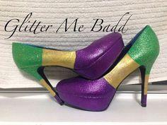 MARDI GRAS themed Tri-Colored heels by Glitter Me Badd