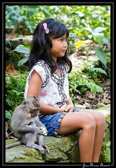 Sweet girl in Bali with her friend