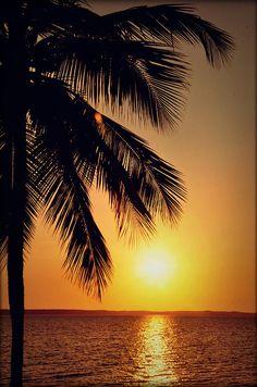 Sunset in Cienfuegos in Cuba.