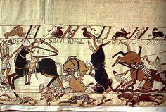 Tapisserie de Bayeux : bataille de Hastings, la débandade des cavaliers ennemis