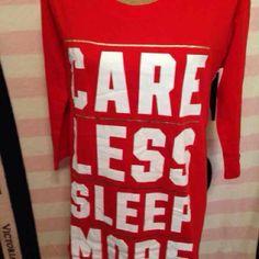 "VS pink sleep shirt Size medium ""Care less sleep more"" PINK Victoria's Secret Intimates & Sleepwear Pajamas"