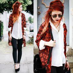 Shirt-white blouse and leggings- luanna perez-hipster Look Legging, Mode Rock, Luanna Perez, Mode Grunge, Estilo Rock, Harajuku, Hipster, Grunge Hair, Mode Style